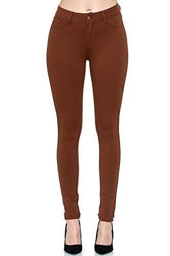 Elara Damen Stretch Hose Skinny Fit Jegging Chunkyrayan H01-30 Brown 42 (XL)