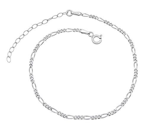 Damen Fußkettchen Figarokette 925 Sterling Silber rhodiniert 2,3mm breit 20-25 cm lang Fußkette Armkette Anklet anlaufgeschützt nickelfrei
