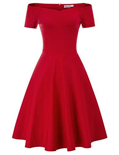 festliches Kleid Damen Knielang Audrey Hepburn Kleid Fashion Rockabilly Kleider CL020-2 S
