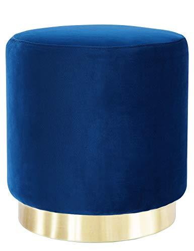 Hocker Samt Eleganter Sitzhocker Sitzfläche Schminktisch Pouf Polsterhocker Gepolsterte Puff Fußbank Samtstoff Rund Samthocker aus Golden Metallbasis für Wohnzimmer Schlafzimmer Flur Blau