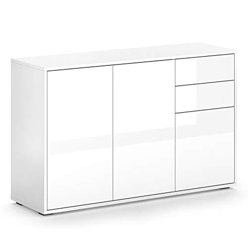 Vicco Kommode AVOLA Sideboard Mehrzweckschrank Schrank Hochglanz (Weiß, 116 cm)