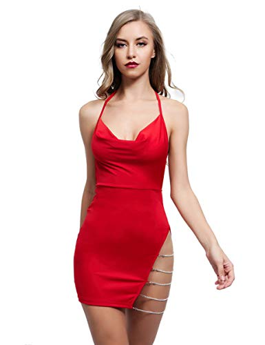 Lath.Pin Damen Kleid, Sexy Kleid, Disco Kleid, Deep V Stretch Clubwear Party Dress Kombination Sexy Erotik Backless Lack Nightclub Stripper Gr. Medium, rot
