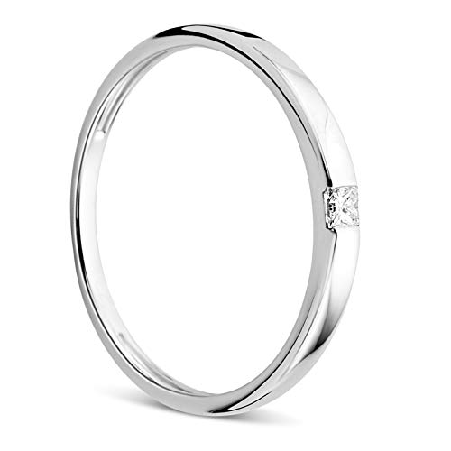 Orovi Damen Ring Weißgold 0.06 Ct Solitär Diamant Verlobungsring 18 Karat (750) Gold und Diamant Brillant