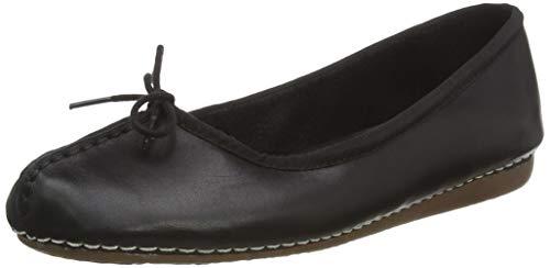 Clarks Damen Mokassin Ballerinas, Schwarz (Black Leather), 40 EU