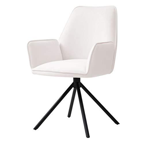 Mendler Esszimmerstuhl HWC-G67, Küchenstuhl Stuhl mit Armlehne, drehbar Auto-Position - Samt, Creme-beige