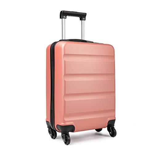 Kono Koffer-Trolley Handgepäck von ABS Reisekoffer Gepäck 4 Rollen 55 x 38 x 20 cm 33L (Nude)