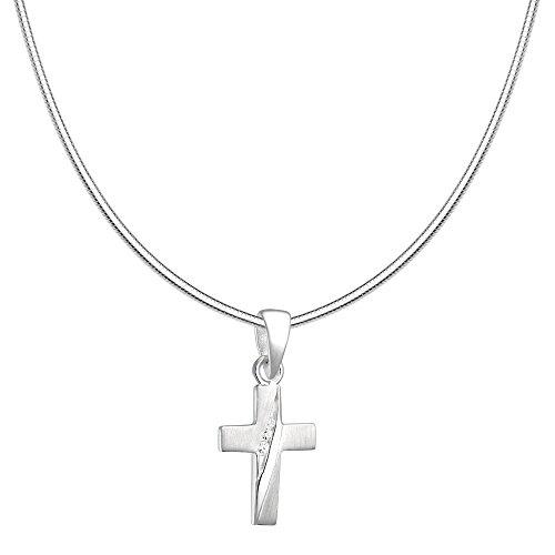 Vinani Anhänger Design Kreuz klein mit Zirkonia weiß mattiert mit Schlangenkette 50 cm Sterling Silber 925 Kette Italien AKKZ-S50