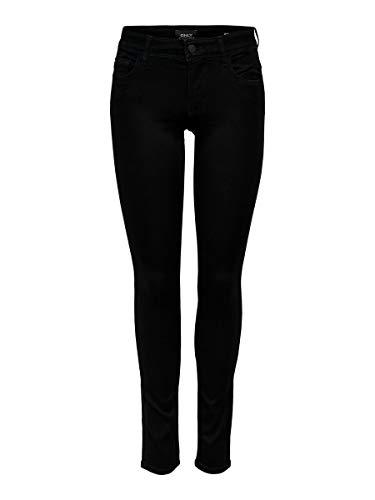 ONLY Damen Jeans Normaler Bund 15077793/SKINNY REG. SOFT ULTIMATE BLACK NOOS, Schwarz (Black Denim), XL/L30