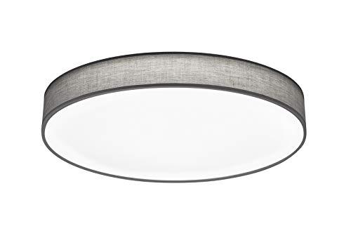 lightling modern LED-Deckenleuchte Chantal mit integriertem 60W LED Leuchtmittel (A+) und Fernbedienung (dimmbar und Lichtfarbe verstellbar), Stoffschirm grau, ø 75 cm, Höhe: 10 cm