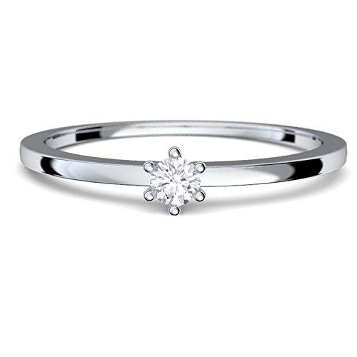 Verlobungsringe Weißgold Ring 585 Diamant Ring 0,05 Carat H/si **sehr gute Qualität** + inkl. Luxusetui + Diamantring solitär schmal dünn Echtschmuck Diamantring Weißgold 0,05 FF50WG585BRFA50