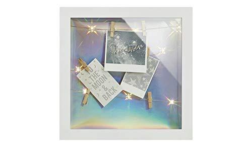 KHG Bilderrahmen Collage Weiß LED-Bilderrahmen Sensation LED-Clipboard Geschenkverpackung