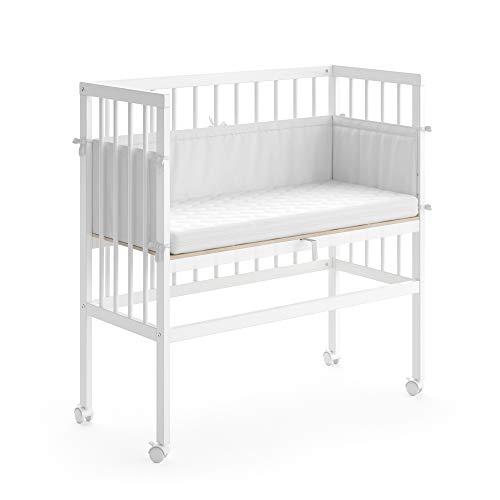 VITALISPA Beistellbett SOPHIE Weiß Grau Babybett Stillbett Stubenbett Nestchen Boxspringbett Seitengitter (Weiß, 1 Seitengitter)