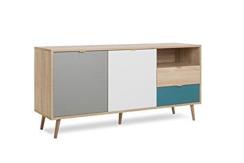 Sideboard - Patchwork (B/H/T: ca.: 150 x 71 x 40 cm)  skandinavisches Design - Vollholzfüße