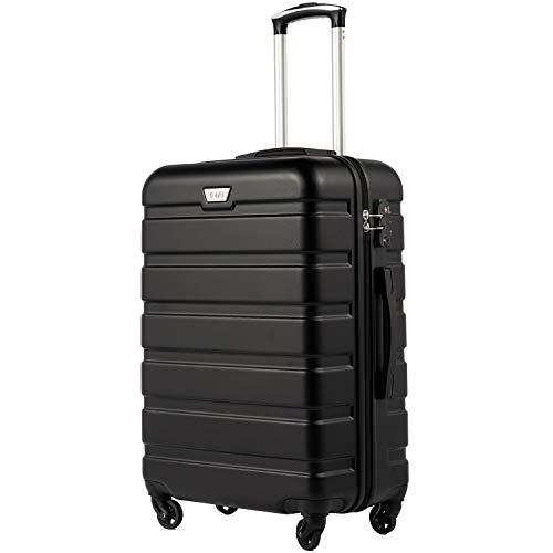 COOLIFE Hartschalen-Koffer Trolley Rollkoffer Reisekoffer mit TSA-Schloss und 4 Rollen(Schwarz, Handgepäck)