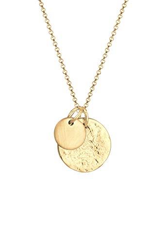 Elli Halskette Damen Plättchen Gehämmert Organic Look Minimal aus 925 Sterling Silber vergoldet