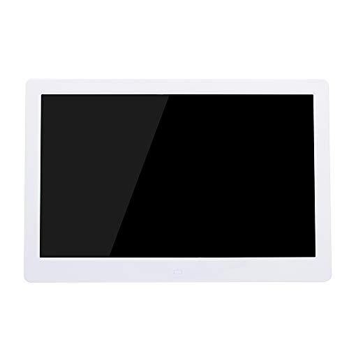 13,3 Zoll Digitalfotoalbum Elektronisches Fotoalbum HD Display Multifunktionswerbemaschine Foto- / Musik- / Videoplayer Uhr- / Alarm- / Kalenderfunktion Zeitgesteuert Ein / Aus Fernbedienung,White