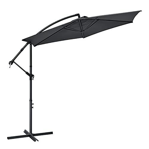 ArtLife Ampelschirm Brazil 300 cm Kurbel Ständer – UV-Schutz wasserabweisend knickbar – Sonnenschirm Marktschirm Gartenschirm – grau