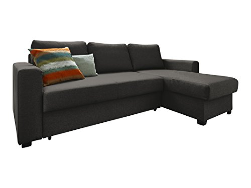 Atlantic Home Collection DUBLIN Schlafsofa mit Bettkasten, Polyester, Anthrazit, L-Form Sofa
