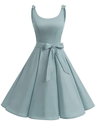 Bbonlinedress 1950er Vintage Polka Dots Pinup Retro Rockabilly Kleid Cocktailkleider Grey M