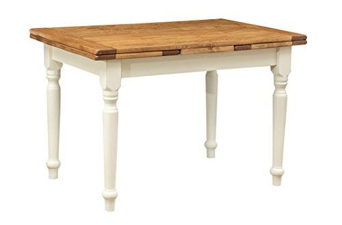 Ausziehbarer Tisch aus massivem Lindenholz im Landhausstil, Struktur weiß antik, Tischplatte aus Naturholz, 120 x 80 x 80 cm