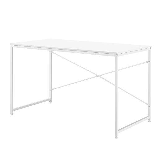 [en.casa] Schreibtisch 120x60x72cm Weiß Eiche-Optik Bürotisch Computertisch Arbeitstisch PC Tisch