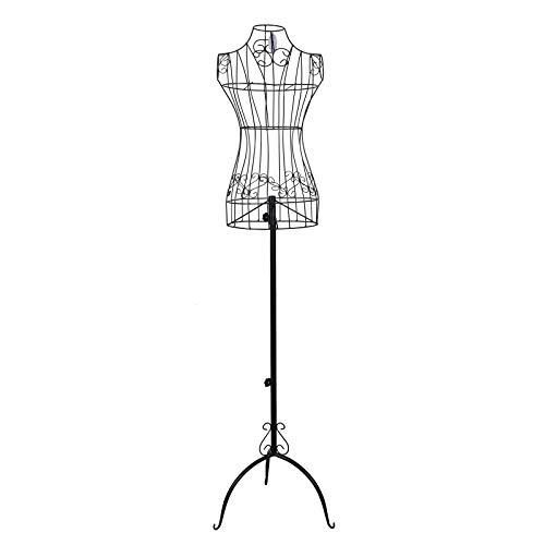 SONGMICS Schneiderpuppe weiblich, Schaufensterpuppe aus Metall, Mannequin, Damenbüste, Schneiderbüste, 114-170 cm, höhenverstellbar, Vintage, schwarz HRA10B