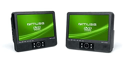 Muse M-995 CVB 2x tragbarer DVD-Player Auto, 9 Zoll, USB, SD / MMC-Kartenleser, AV-Anschluss) mit stabiler Halterung für die Kopfstütze (Spange)