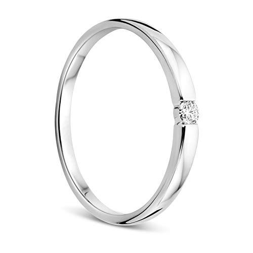 Orovi Damen Ring Weißgold 0.05 Ct Solitär Diamant Verlobungsring 18 Karat (750) Gold und Diamant Brillant