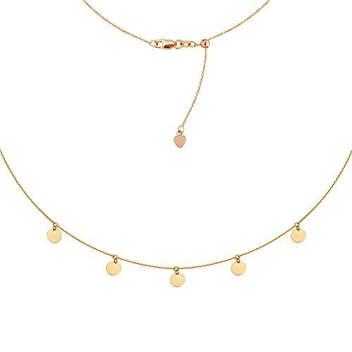 14ct Rose Gold 5baumeln Mini Disc Choker verstellbar Halskette–41cm