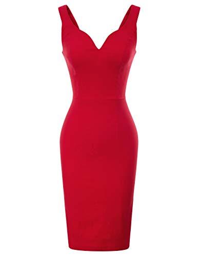 GRACE KARIN bleistiftkleid 50er etuikleid rot Knielang sexy Kleid damenkleid CL987-2 S