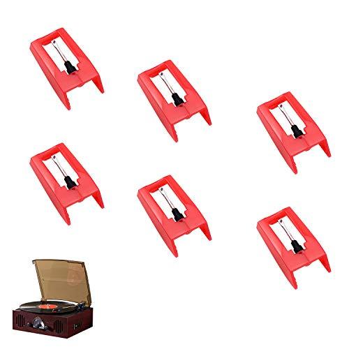 Demason Plattenspieler Nadel 6 Stück, Universal Plattenspieler Diamant Stylus Tonnadel Ersatznadel für meiste Plattenspieler Phonograph, Vinyl Plattenspieler
