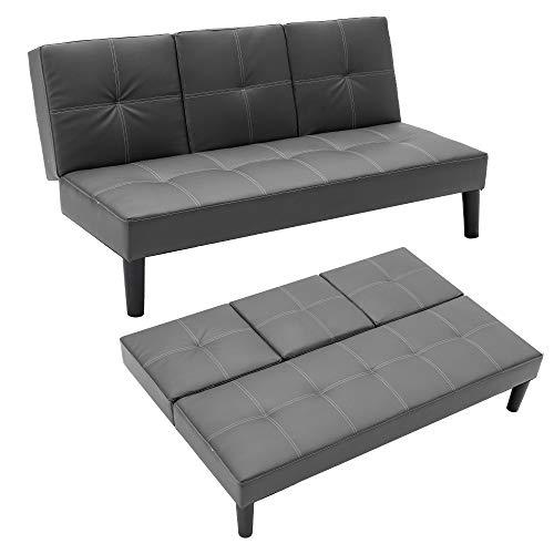 Mingone Schlafsofa mit Ausklappbar Tisch Sofa mit Schlaffunktion 3 Sitzer Sofabett Kunstleder Sofa Verstellbarer Winkel Schlafsessel (Beige, 150 x 82,5 x 75 cm)