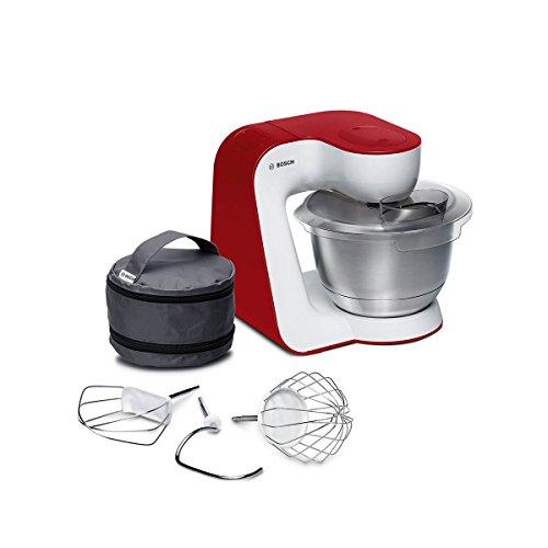 Bosch Küchenmaschine MUM5 StartLine MUM54R00, XXL Edelstahl-Schüssel 3,9 L, Planetenrührwerk, Knethaken, Schlagbesen, Rührbesen Edelstahl, 7 Arbeitsstufen, 900 W, weiß/rot