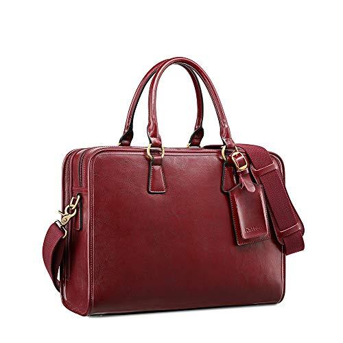Kattee Damen Leder Aktentasche Messenger Bag 14' Laptop Handtasche, Rot
