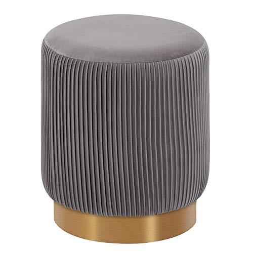 Duhome Sitzhocker Polsterhocker Hocker Rund Schminkhocker hochwertiges Design 9163, Farbe:Grau, Material:Samt