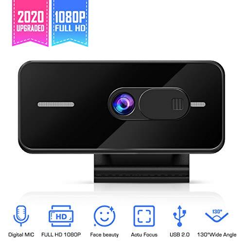 Foxnovo 1080P Full HD PC Skype-Kamera, 130 Grad Ultra View Angle Autofokus-Webcam mit Mikrofon-Videoanruf und Aufzeichnung für PC-Laptop-Desktop-Plug-and-Play-USB-Kamera für Skype