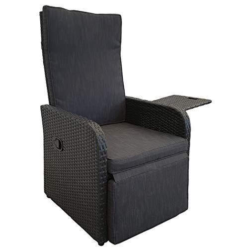 KMH®, Polyrattan Liegestuhl Jim inklusive Auflage und ausklappbarem Tisch (schwarzes Polyrattan - anthrazitfarbene Auflage) (#106410)