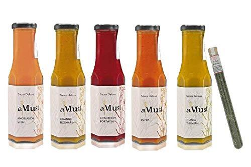 Wajos AMust Saucen – Probierset/Geschenkset für Grill- BBQ-, Salat Saucen, Fondue, Raclette - Zu Fleisch, Fisch, Gemüse, Pasta, Kartoffeln, Salat - 5 x 250 ml & Salatgewürz Oliv & Co.