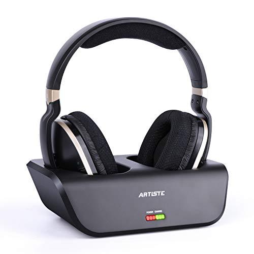 Kabellose Fernseher Funkkopfhörer mit Optischer Funktion Digitales HiFi Kopfhörer mit Ladestation und 2,4-GHz-HF-Sender, 33 Meter Reichweite und Wiederaufladbarer 20-Stunden-Akku