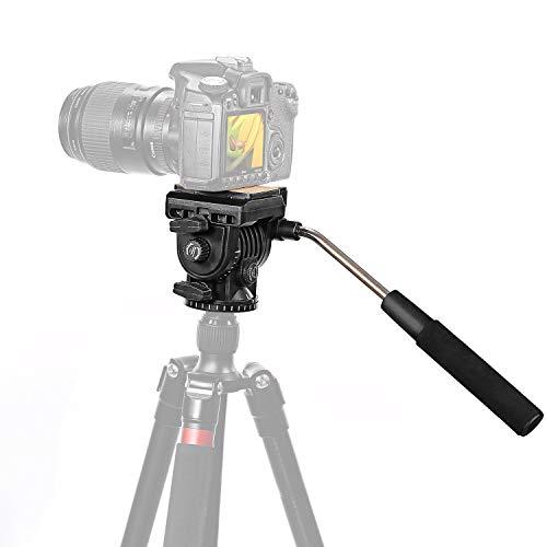 Neewer Fluid Videokopf Videoneiger Stativkopf Kugelkopf mit Schnellwechselplatte für DSLR-Kameras mit 1/4' Gewinde bis zu 4 kg, Stativ mit 3/8' Gewinde