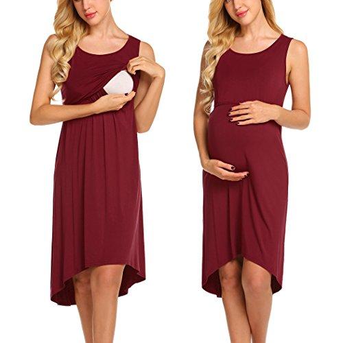 Unibelle Damen Umstandskleid Umstandskleid mit Stillfunktion Elegantes Und bequemes Nachthemd Stillkleid Ärmellos Wein Rot XL