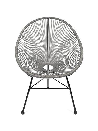 Retro Acapulco Lounge Relax Sessel Chair Indoor & Outdoor Rahmen & Füße Pulverbeschichtet Farbe GRAU