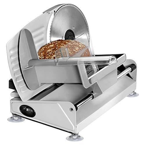 Wurstschneidemaschine Elektrisch Edelstahl Allesschneider Brotschneidemaschine Abkippbar (Wurstschneider, Schneiddicke 0-15 mm, Wellenschliff, Fester Stand, Elektromesser)
