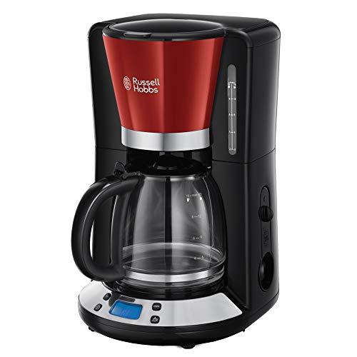 Russell Hobbs Digitale Kaffeemaschine Colours+ rot, programmierbarer Timer, 1,25l Glaskanne, bis 10 Tassen, Warmhalteplatte, Abschaltautomatik, 1100W, Filterkaffeemaschine 24031-56