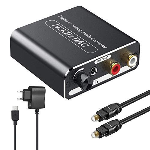 DA Wandler Ozvavzk DAC Konverter mit Lautstärkeregler 192Khz Digital SPDIF optischer Koaxial Toslink zu Analog Stereo Audio L/R RCA 3.5 mm Klinkenstecker Audio Adapter mit Optischem Kabel
