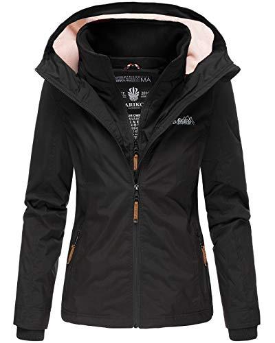 Marikoo Designer Damen Übergangs Jacke leicht gefüttert Kapuze kurz B659 [B659-Erdbeer-Schwarz-Gr.XS]