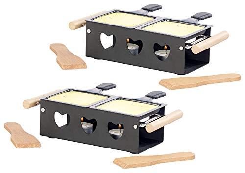 Rosenstein & Söhne Mini Raclettes: 2er-Set Teelicht-Raclette für 2 Personen, mit Schabern und Teelichtern (Teelichtofen)