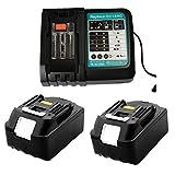 Ersat Ladegerät mit 2X Akku 18V 5.0Ah für Makita Baustellenradio 18V DMR 108 DMR110 DMR107 DMR 112 DMR104 DMR106 18 Volt Radio Batterie
