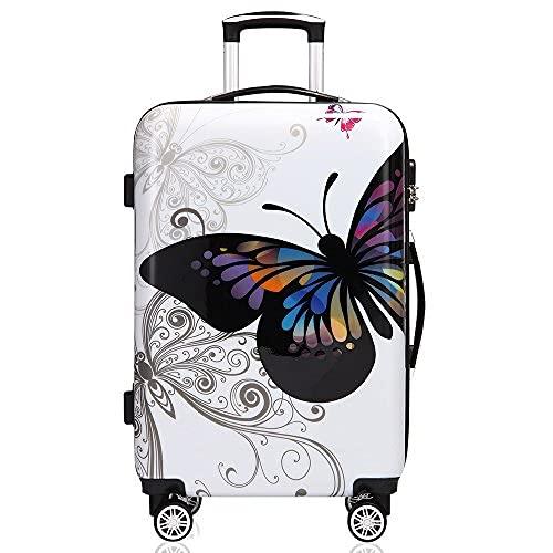 Monzana® Reisekoffer Hartschalenkoffer Butterfly Hartschale Trolley Koffer   ABS-Kunststoff   PC beschichtet   Alu Teleskopgriff   gummierte Zwillingsrollen   Größe XL