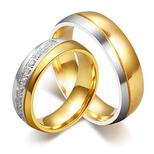 ANAZOZ Männer Ring Titan 18K Vergoldet Hochzeitsringe Trauring Ehering Modeschmuck Partnerringe für Paar Größe 54 (17.2)